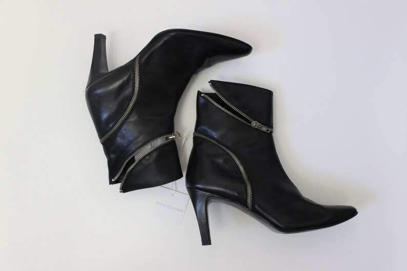 1990s black leather zippered ankle motorcycle boots Zip Down leather moto ankle booties size 8