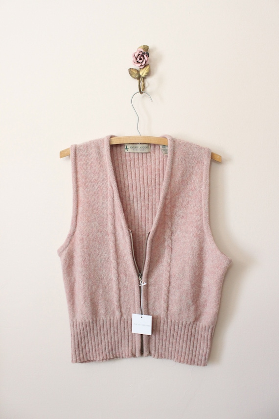 Dusty Pink wool vest | 1990s light pink cable kni… - image 8