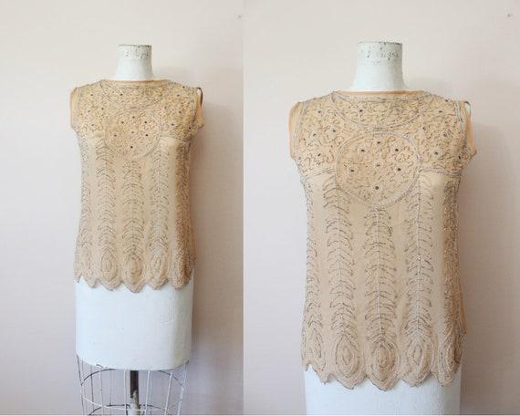 1920s Nude silk sheer beaded blouse | 20s beaded b