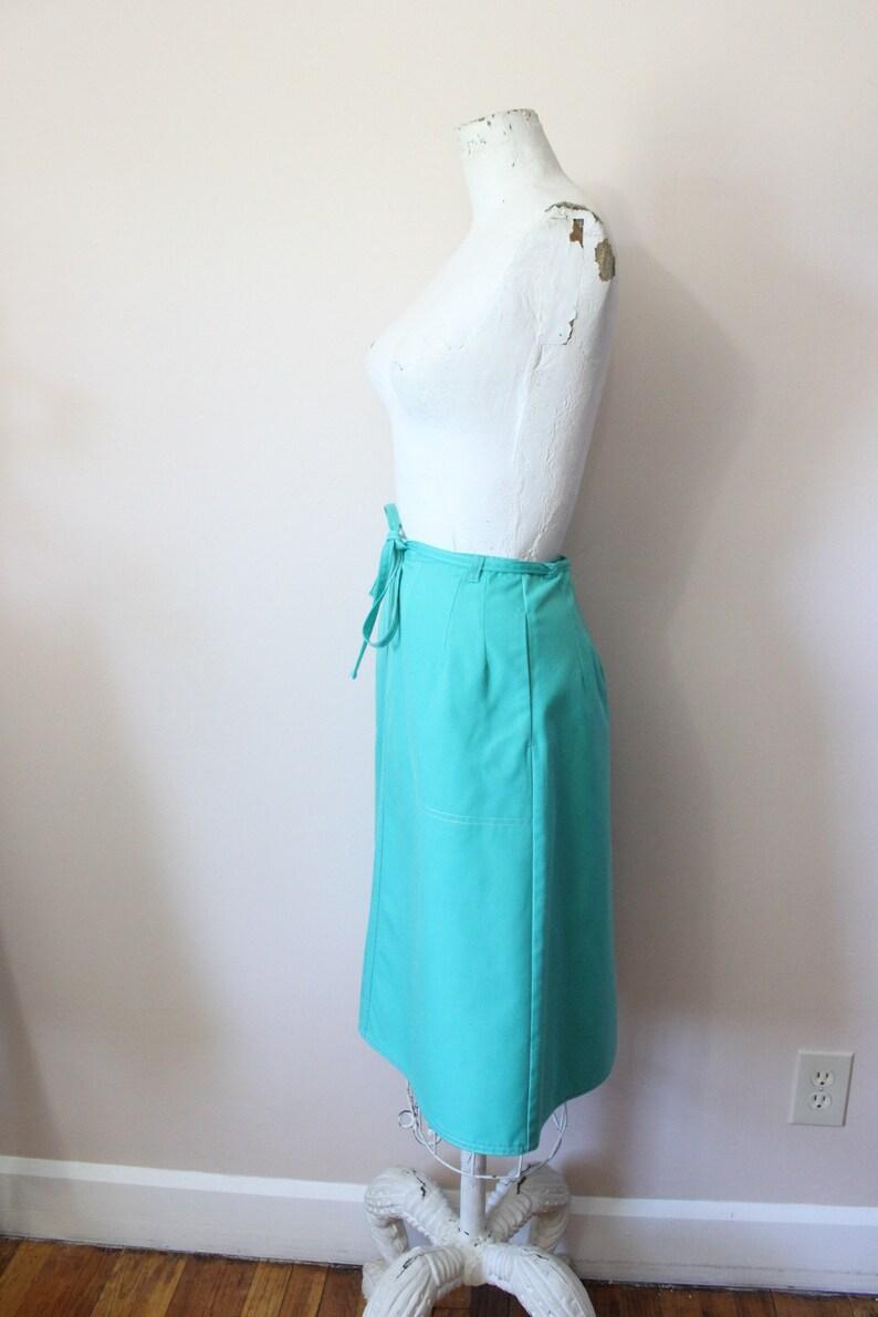 xs small apron midi skirt 70s aqua turquoise wrap skirt 1970s seafoam green wrap skirt