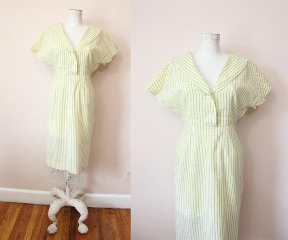 1940s Swiss Yard cotton dress | 1940s yellow dotte