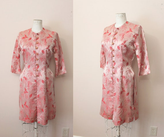 Loungees hostess dress | 1960s romantic red orient
