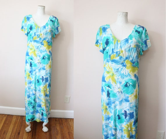 Watercolor Floral rayon dress | 1990s 30s style ra