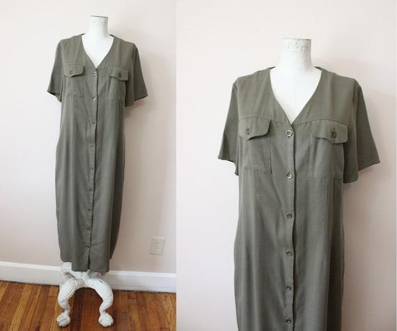 HALSTON olive grunge dress | 1990s Halston grunge