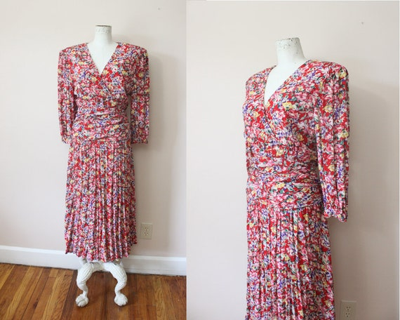 1980s Meliposa maxi dress | 80s red floral puff pr