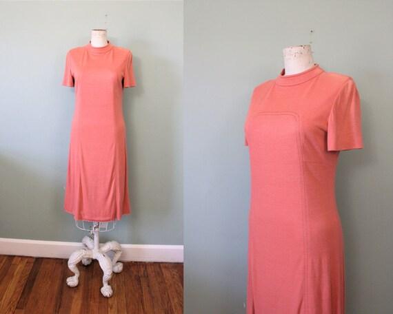 1960s coral blush mod jersey knit dress   60s mod