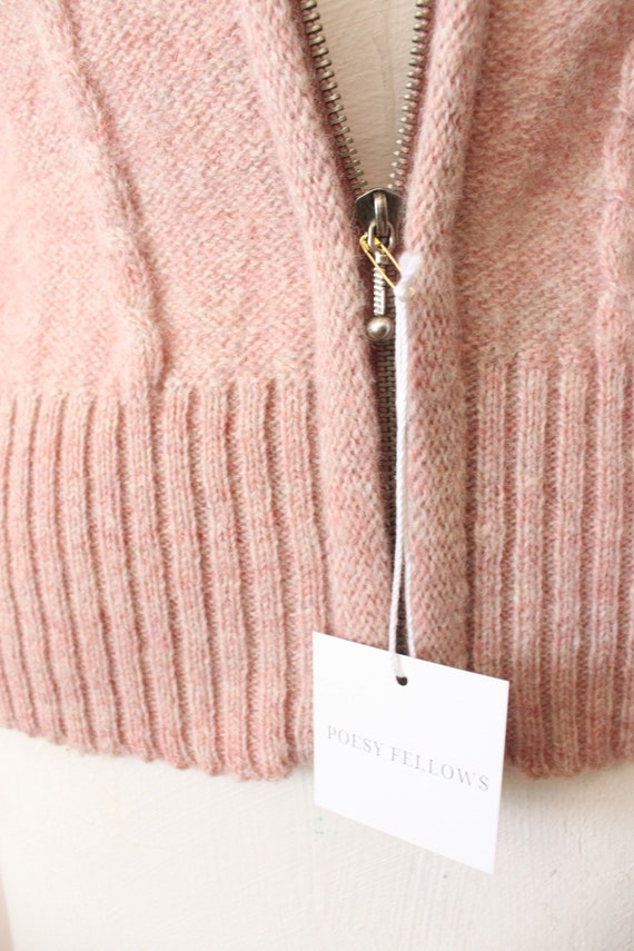 Dusty Pink wool vest | 1990s light pink cable kni… - image 3