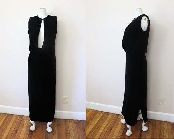 The Mystic velvet dress set | 70s black velvet max