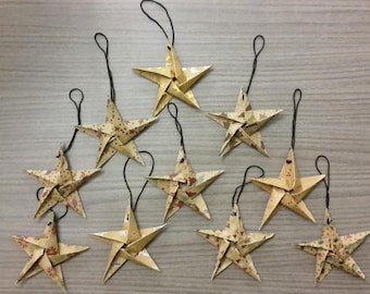Hanging on the Christmas tree decoration / set of 10 origami stars