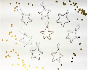 Christmas tree ornament / set of 8 stars in aluminum wire