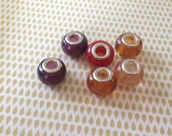 Handmade 6 Lampwork European beads