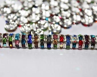 Set of 10 multi-colored rhinestone separators