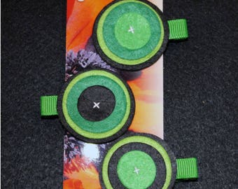 Set of 3 hair clip made of felt circles.
