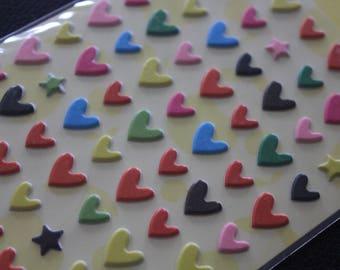 1 sheet of Kawaii Stickers - hearts (95 stickers/sheet)