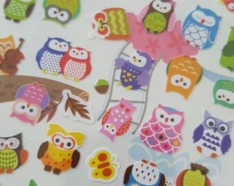 1 sheet of Stickers - little owls (62autocollants/sheet)