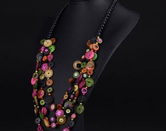 Necklace - necklace made of coconut and sequins