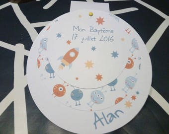Birth announcement, christening (space theme here)