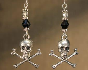 "Earrings ""skull bones"" Gothic, pirate, rock, fantasy"