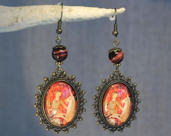 """Earrings """"Lady in the Unicorn"""" medieval, renaissance, retro, vintage"""