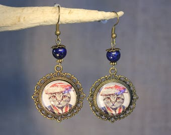 "Earrings ""cat renaissance"" medieval, retro, vintage"
