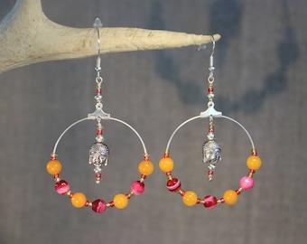 """Beads and Buddha"" earrings/hoop earrings bollywood, India, fantasy"