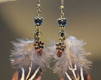 "Steampunk, retro, vintage ""Pheasant feathers"" earrings"