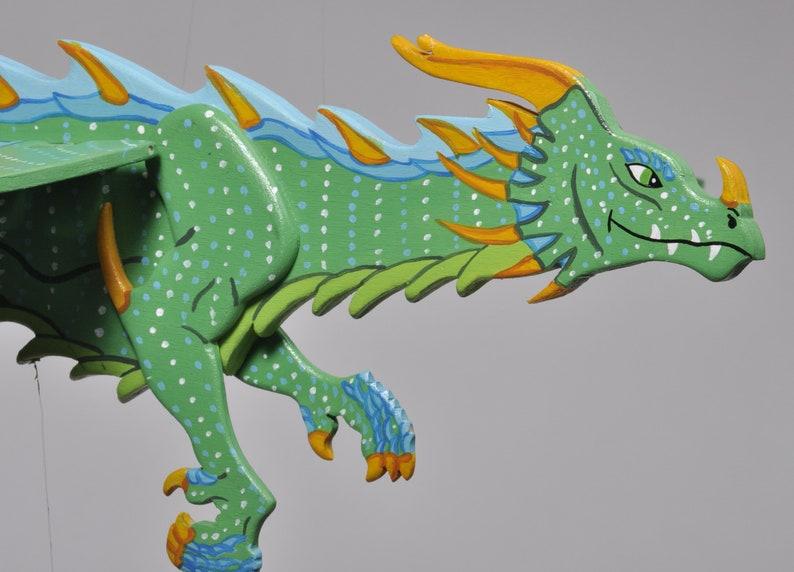 Mobile Flying Dragon Green And Blue Wood Fantastic Decor Kids