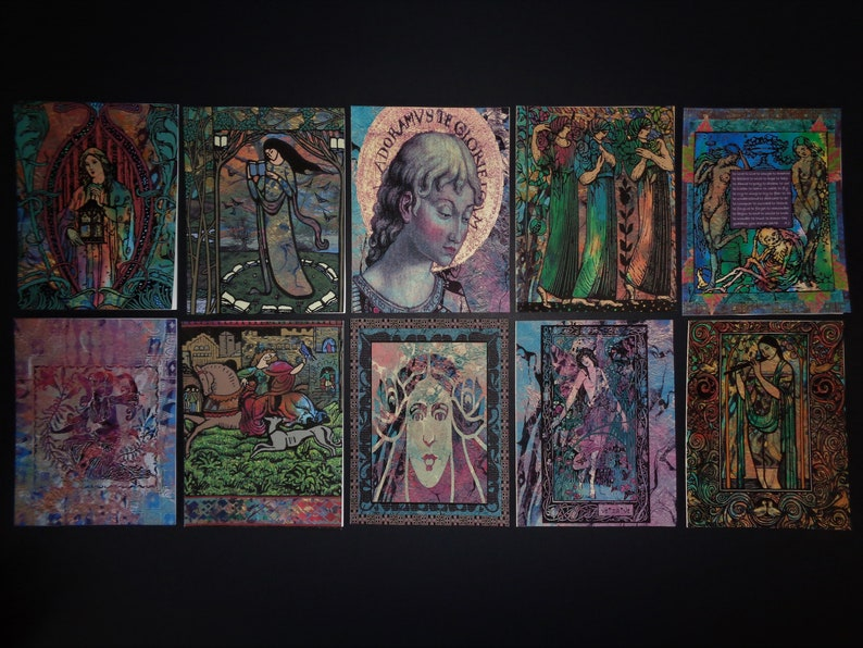 10pk New Age Goddess Blank Greeting Cards with Beautiful Silver Mesh Bag