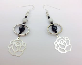 Earrings with speckled obsidian and Howlite + spacer in silver - fancy earrings