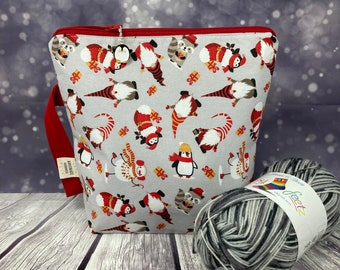 Gnome Nisse Tomte Penguin Fall Autumn Christmas Knitting Project Bag, Crochet, Knitting Accessories, Gifts For Knitters