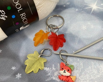 Fox Autumn Leaves Knitting Stitch Markers Set, Progress Keepers, Crochet, Knitting Accessories, Gifts for knitters