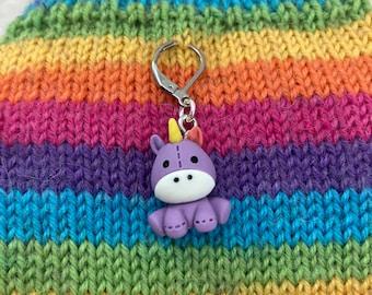 Purple Unicorn Knitting Stitch Marker, Progress Keeper, Crochet, Knitting Accessories, Gifts For Knitters, Earring Wires