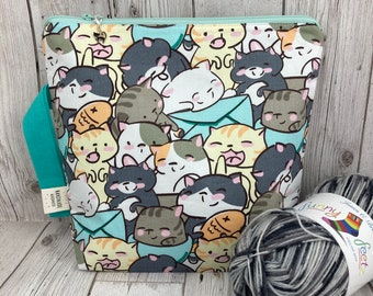 Cute Cat Knitting Project Bag, Crochet Project Bag, Knitting Accessories, Gifts For Knitters