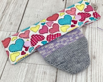 Love Heart DPN Cosy Case, Project Bag, Sock Knitting Accessories, Gifts For Knitters
