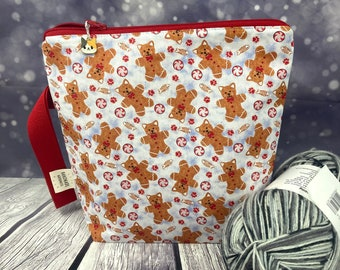 Gingerbread Cat Christmas Knitting Project Bag, Crochet, Knitting Accessories, Gifts For Knitters