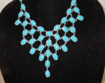 turquoise and silver bib choker