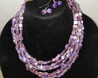 vintage purple shell multi strand necklace with earrings