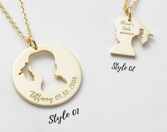 14K GOLD FILL | Custom Children Silhouette Necklace | Personalized Mother Daughter Necklace | Family Necklace  | Adoption Necklace