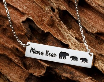 Mothers Day Gift • Personalized New Mom Necklace • Custom Children Bar Necklace • Mama Bear Bar • Necklace Family Necklace