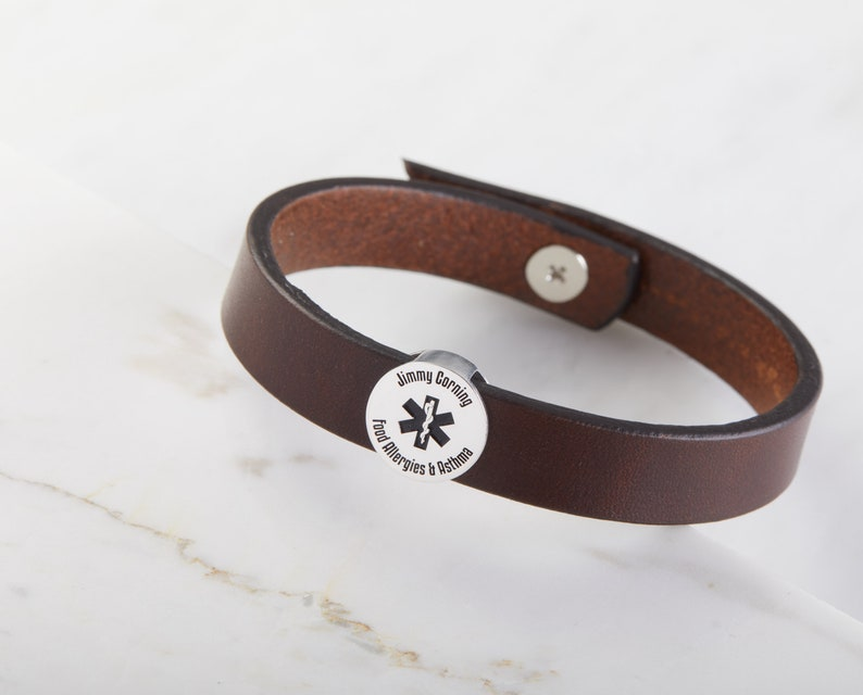 Medical ID Bracelet | Medical Alert Leather Bracelet for Him | Medical  Bracelet | Diabetic Bracelet | Mens Jewelry