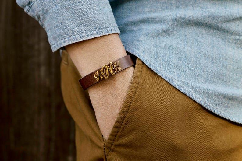Personalized Monogram Leather Bracelet 14K GOLD FILL Groomsmen Gift Custom Name Bracelet Name Initial Bracelet Wedding Gift