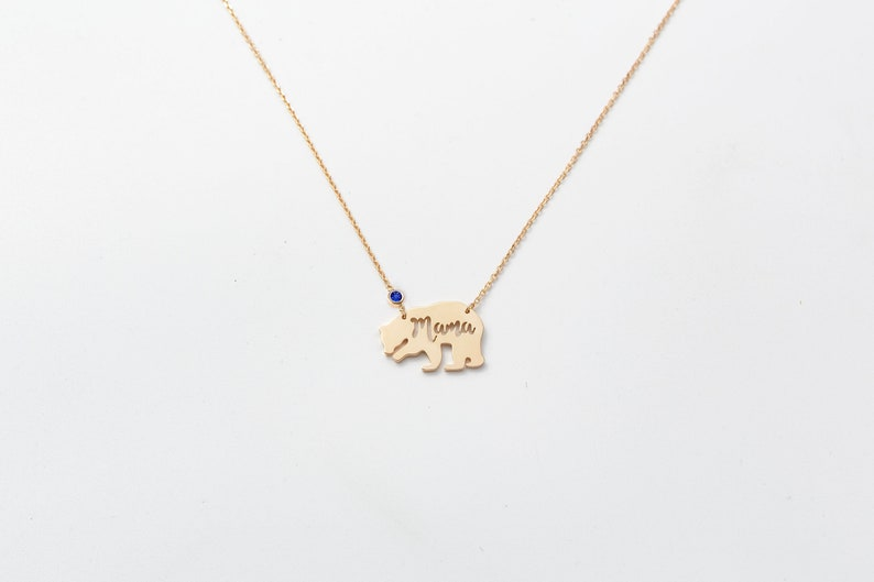 Mama Bear Necklace Personalized Mom Necklace Gift for New Mom Custom Mother Daughter Necklace Family Necklace
