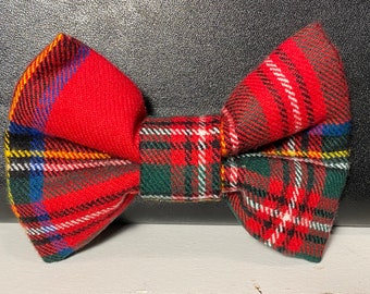 Zoey's Christmas plaid(dog) bow tie with velcro
