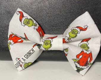 Adopt a Grinch(dog) bow tie with velcro