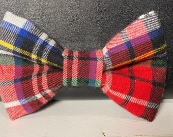 Ari's Christmas plaid flannel(dog) bow tie with velcro
