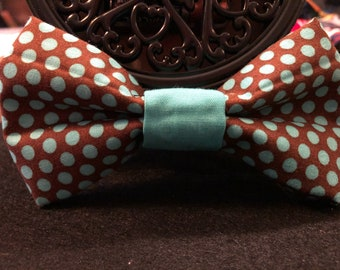 Brown and teal polkadot(dog)bow tie