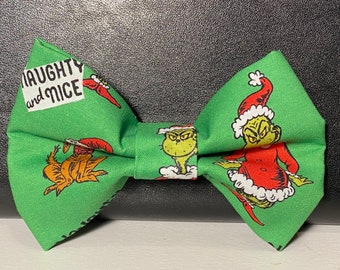 Naughty or nice(green)dog bow tie with velcro