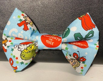 Naughty or nice(blue) dog bow tie with velcro