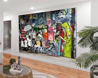 SKULL FLOWER graffiti wall urban street art PRINT POSTER a1 size for frame