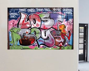 two photo prints; set - Travel Photography Urban Street Art: Paris France Umbrella Cat Graffiti Banksy style  Black White Red Stencil